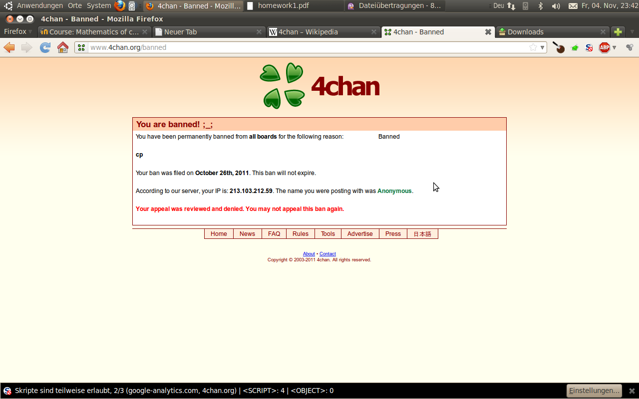 Screenshot of 4chan.org. The team of the webpage seems to really care